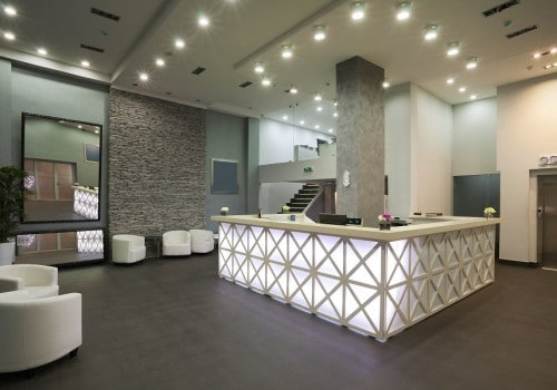 Interior of a hotel reception, modern style.